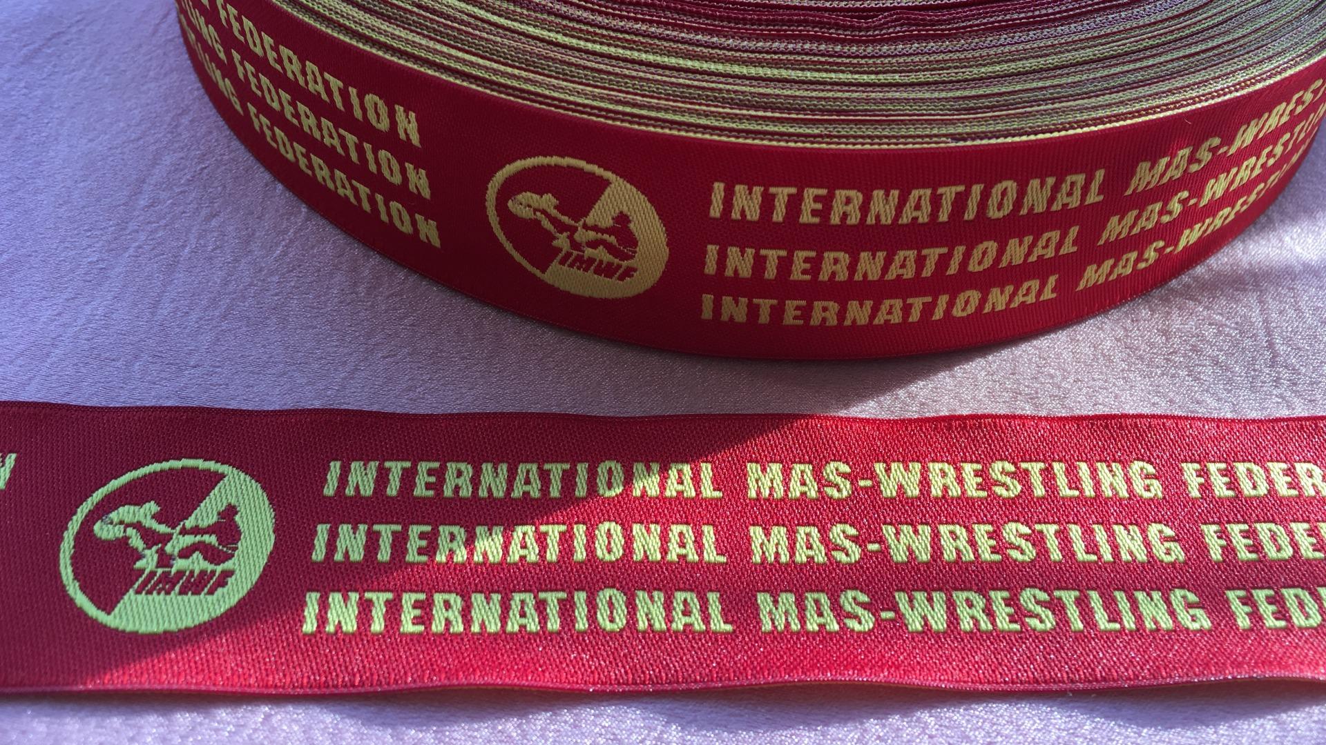 Красная жаккардовая лента с логотипом